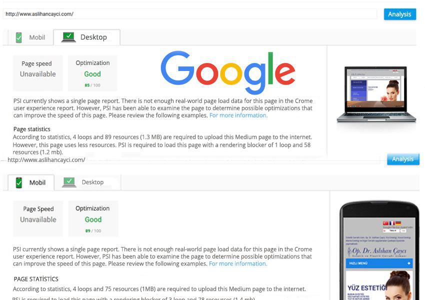 Google Speed Test | Opening speed | mobile and desktop opening speed
